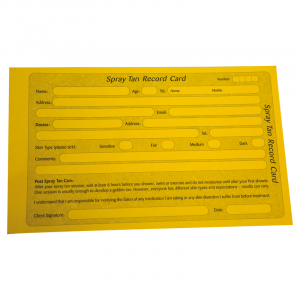 Spray Tan Record Cards