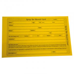 Spray Tan Record Cards