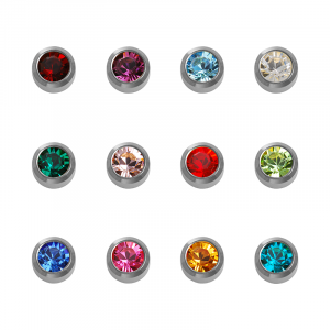 Stainless White Assorted Birthstone - Blu System